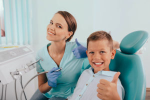dentist explaining dental bonding